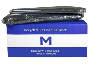 Rubbish Bag Bin Liner 80L Black