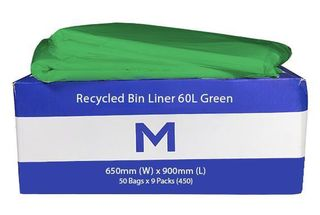Rubbish Bag Bin Liner 60L Green