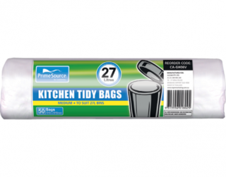 PrimeSource' Medium Kitchen Tidy Bags - 27 Litres, Perforated Roll - Castaway