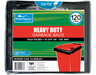 PrimeSource' 120L Heavy Duty Garbage Bags, Pack, Bulk Folded, - Castaway