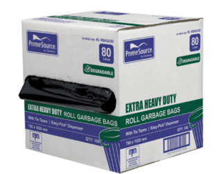 PrimeSource' Degradable 80L Extra Heavy Duty Garbage Bags, Perforated Rol - Castaway