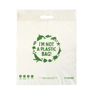 Punched Handle Bag Compostable Medium - Ecobags - Pack or Carton
