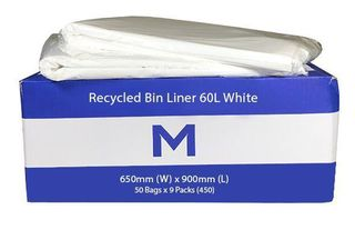 Rubbish Bag Bin Liner 60L White - Matthews